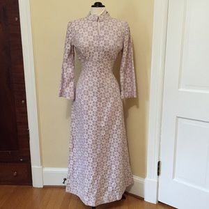 Vintage Floral Lace maxi Dress Hand Made